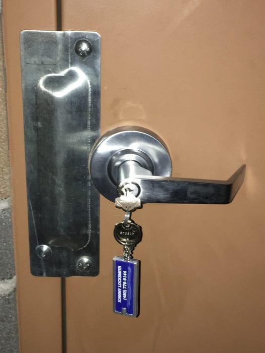 commercial lever handle with key in lock